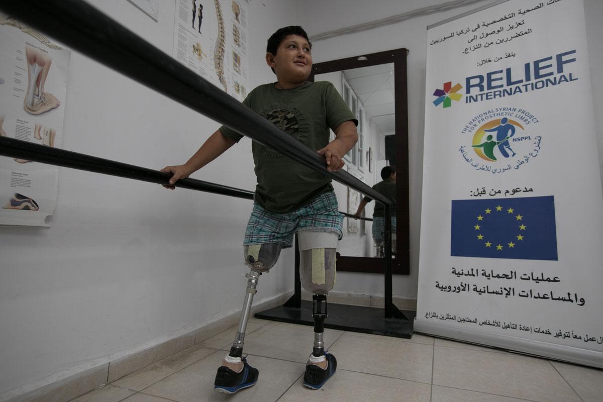 Muhammed is learning to walk again. Rachel Elkind/RI
