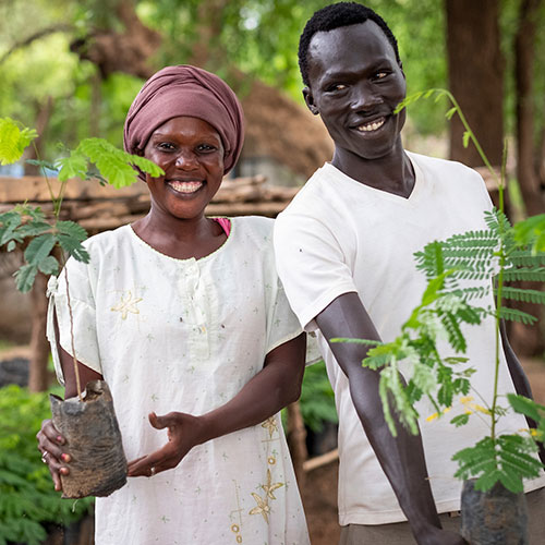 Faida Abtosh and Maneno Ahmed work at the Gentil Tree Nursery in Maban, South Sudan. Elie Gardner/RI