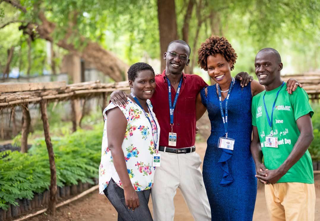 Relief International staff, from left, Anzoyo Josephine, Hissien Jabir, Alma Prossy and Bunduki Denis at the Gentil Tree Nursery in Maban, South Sudan. Elie Gardner/RI