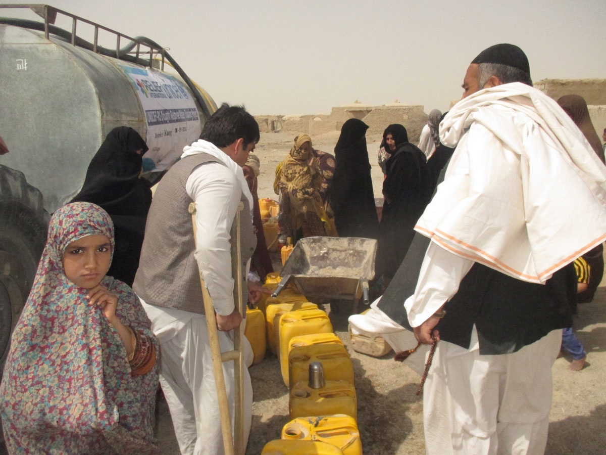 Water distribution in Nimroz Province.