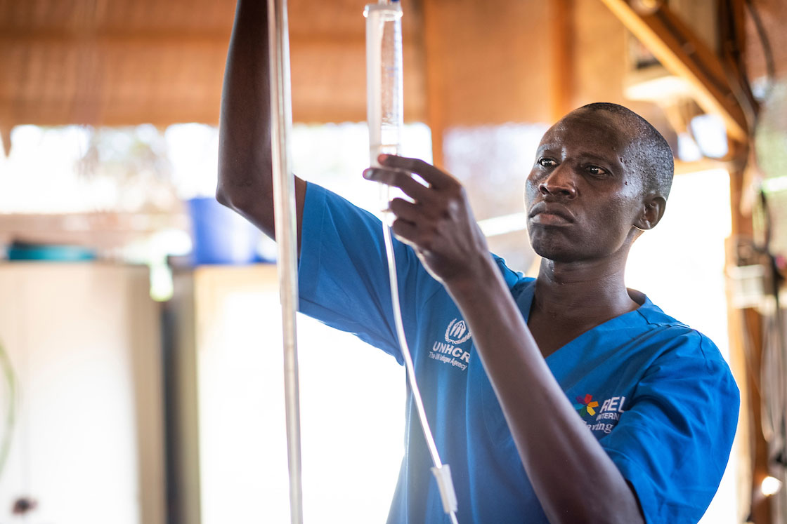 Nurse Abiti Johnstone at work in the pediatric ward of Gentil Hospital, South Sudan. Elie Gardner/RI